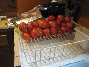We start with vine ripened tomatoes that don't have too many bad spots.  We make sure they are clean.